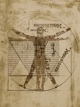 Vitruvian Man Of Digital Age. Futuristic Illustration Of Vitruvian Man With A Binary Codes On Brown Grunge Background.