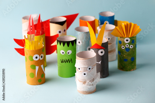 Coronavirus covid-19 pandemic creative antistress art, Halloween and decoration concept - monsters from toilet paper tube/ Simple diy creative idea Fototapet