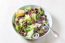 Green Salad With Grilled Squids Calamari Tentacles, Lemon, Purple Onion In Ceramic Bowl With Fork Over White Marble Background.