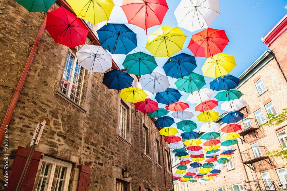 Fototapety, obrazy: Lot of Umbrellas in Petit Champlain street Quebec city