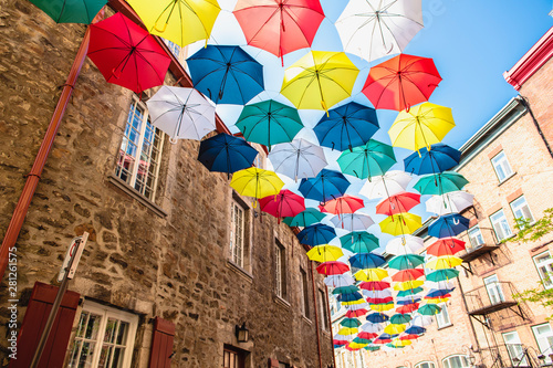 Fotografia Lot of Umbrellas in Petit Champlain street Quebec city