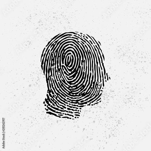 Black silhouette of man head with fingerprint pattern Canvas Print