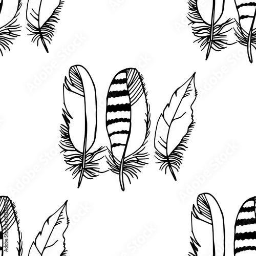 Fotografie, Tablou Mockingjay feather seamless pattern hand drawn sketch