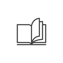 Open Book Pages Line Icon. Linear Style Sign For Mobile Concept And Web Design. Reading, Library Book Outline Vector Icon. Education Symbol, Logo Illustration. Vector Graphics
