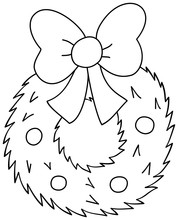 Christmas Wreath With Bow Icon. Outline Vector Illustration Isolated On White Background. Coloring Book For Children.