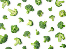 Fresh Broccoli Pattern Isolated On White Background