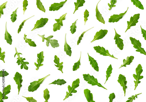Pattern of fresh arugula or rucola salad leaves Canvas Print