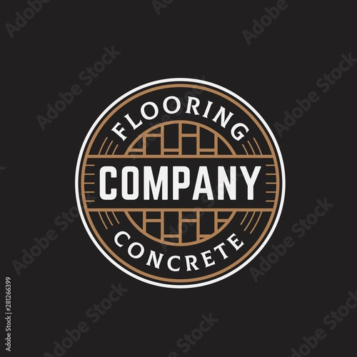 Photo Flooring and concrete circle seal line art logo design