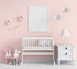 Blank photo frame for mockup in pink child room, 3D rendering
