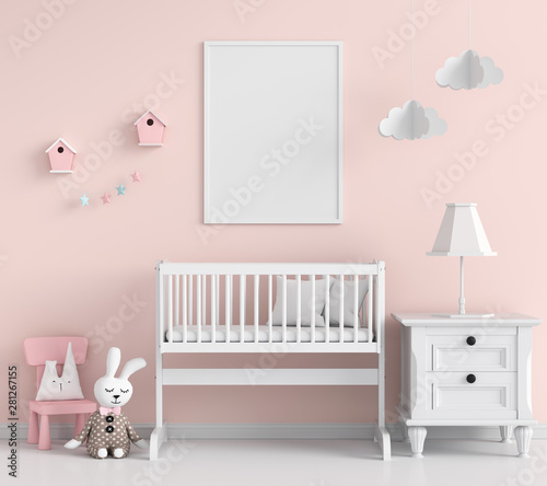 Blank photo frame for mockup in pink child room, 3D rendering