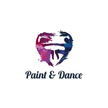 Male And Female Dancer In Brushstroke Graphics Made Form Of Heart Illustration Studio Logo Design