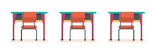 School Desks And Chairs In The...