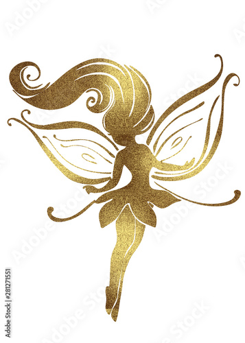 Photo  Watercolor and Golden silhouettes of cute fairies for girls and birthday