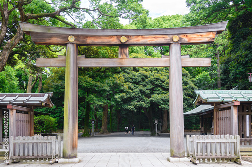 Obraz na płótnie Portal of wood gate temple, Torii of Meiji Jingu Shrine in Central Tokyo (Shibuya), Japan
