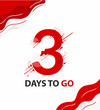 Three days to go. vector typography logotype illustration