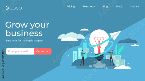 Business idea flat tiny persons vector illustration landing page template design Fototapete