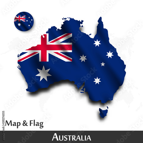 Australia map and flag Canvas Print