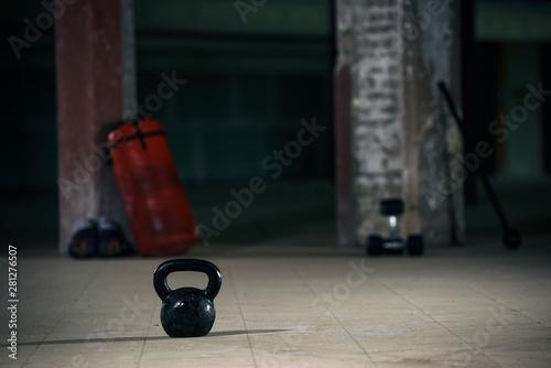plakat Kettlebell on the gym floor