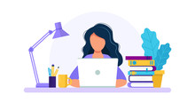 Woman With Laptop, Studying Or Working Concept. Table With Books, Lamp, Coffee Cup. Vector Illustration In Flat Style