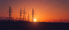 Sunset, Against The Background Of Power Station, Wires, Horizon