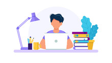 Man With Laptop, Studying Or Working Concept. Table With Books, Lamp, Coffee Cup. Vector Illustration In Flat Style