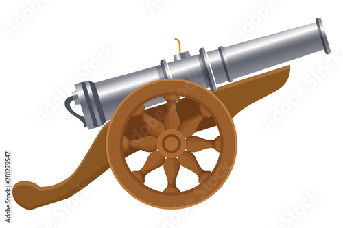 Photo Antique canon with wheels weapon cartoon