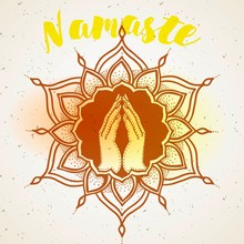 Hands Decorated Greeting Position Namaste-transparency Blending Effects And Gradient EPS 10.