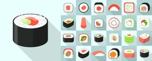 Sushi Roll Icons Set. Flat Set Of Sushi Roll Vector Icons For Web Design