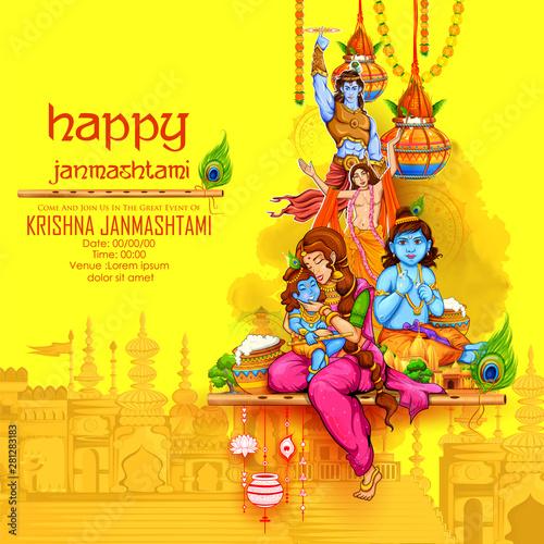Illustration Of Lord Krishna Playing Bansuri Flute In Happy