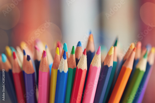 Colorful colored pencils on blurred bokeh background Canvas Print