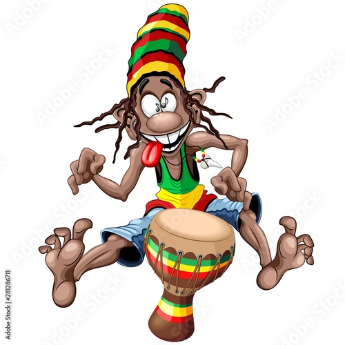 Foto op Canvas Draw Rasta Bongo Musician funny cool cartoon character vector illustration