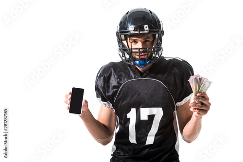 yelling American Football player with smartphone and money Isolated On White Fotobehang