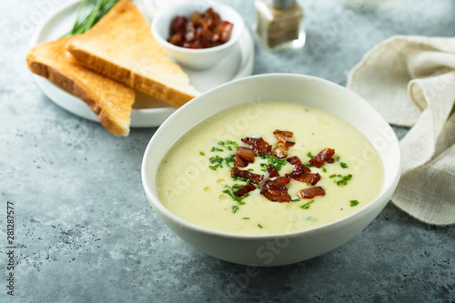 Fotografie, Tablou  Potato asparagus soup with bacon