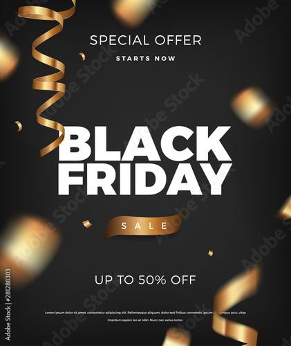 Black Friday sale background, vector design elements with golden cerpentine Fototapete