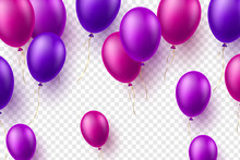 Vector Glossy Balloons In Purple Color. 3d Decorative Elements For Holidays Or Birthday Party. Isolated On Transparent Background.