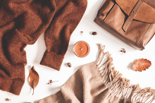 Autumn Composition. Autumn Clothes On White Background. Flat Lay, Top View