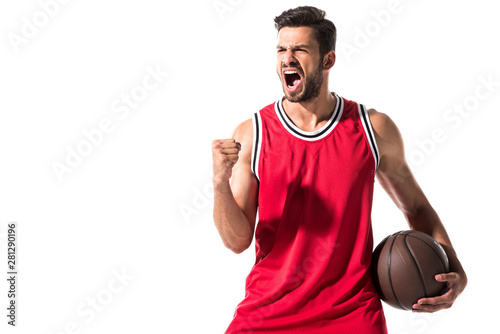 Obraz na płótnie excited athletic basketball player in uniform with ball Isolated On White with c