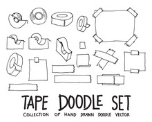Set Of Tape Drawing Illustration Hand Drawn Doodle Sketch Line Vector Eps10