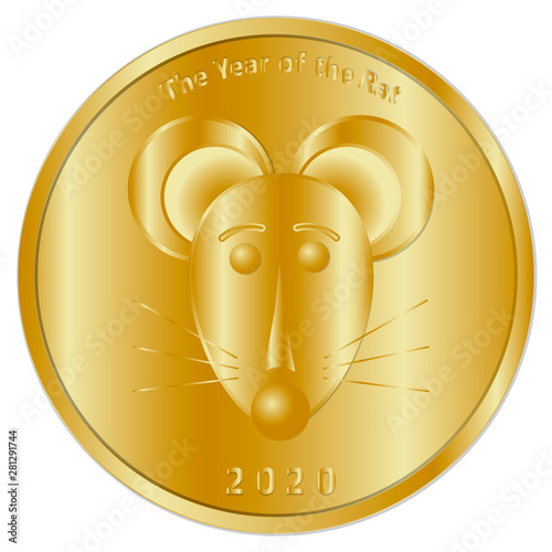 A festive gold coin, medal or token dedicated to the new