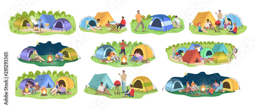 Obraz Camping festival flat vector illustrations set. Happy men and women, young campers cartoon characters. Outdoor picnic, seasonal nature recreation. Summer forest rest isolated on white background - fototapety do salonu