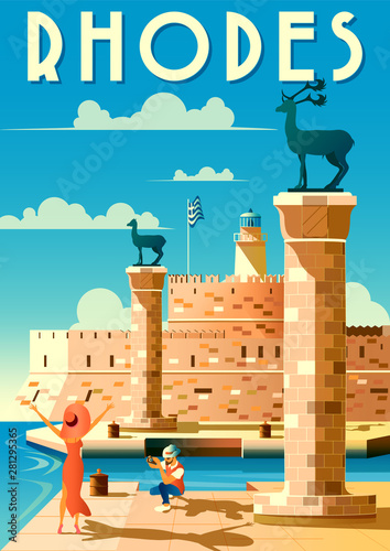 A young Couple is photographed on vacation in Rhodes, Greece. Handmade drawing vector illustration. Retro poster.
