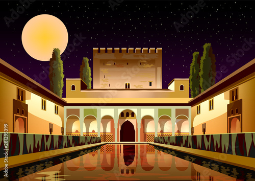 Courtyard of the Myrtles in La Alhambra Palace by night Wallpaper Mural