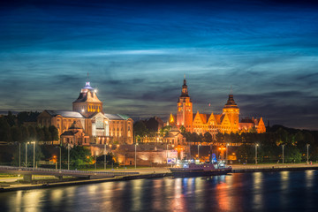 Night view on the Szczecin city, Poland