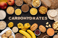 High Fibre And Carbohydrates Healthy Food With Grains And Text