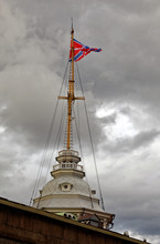 Flagstaff Tower Of Naryshkin Bastion Of The Peter And Paul Fortress. Russian Navy Flag.