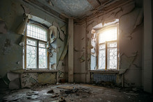 Abandoned House Interior, Dirty Room, Rotten Peeled Walls
