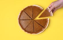 Sliced Pumpkin Pie. Taking A Pie Slice.