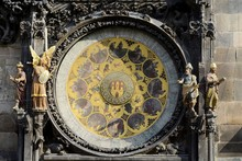 Astronomical Clock Orloj In Prague. The Oldest Working Hours In The World. External Dial Calendar Dial Is Divided Into 365 Sectors