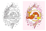 Kawaii mermaid and little fish. Doodle composition for print, poster, coloring book, banner, shop, t-shirt, notebook.