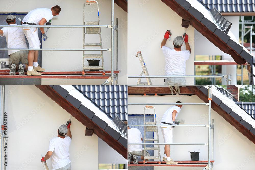Fototapeta Malowanie wałkiem elewacji budynku na rusztowaniu.